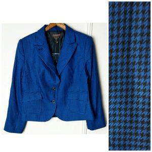 Chadwick's Blazer Blue Houndstooth Button Front
